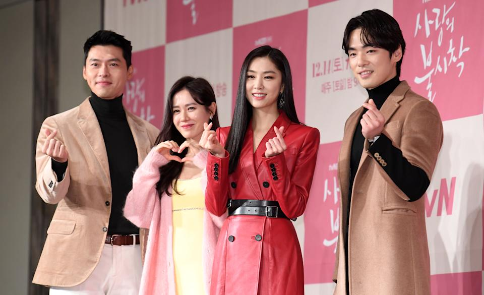 SEOUL, SOUTH KOREA - DECEMBER 09: Actor Hyun-Bin, actress Son Ye-Jin, Seo Ji-Hye, and actor Kim Jung-Hyun during a press conference of tvN drama 'Crashing Landing On You' at Four Seasons Hotel on December 09, 2019 in Seoul, South Korea. (Photo by THE FACT/Imazins via Getty Images)