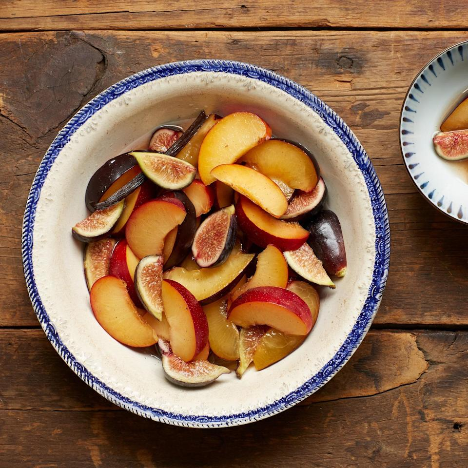 """Bring together all of the best fruit of fall in this salad, which is spiced with a bit of ginger, five-spice powder, and a vanilla bean. <a href=""""https://www.epicurious.com/recipes/food/views/five-spice-fall-fruit-salad-51244030?mbid=synd_yahoo_rss"""" rel=""""nofollow noopener"""" target=""""_blank"""" data-ylk=""""slk:See recipe."""" class=""""link rapid-noclick-resp"""">See recipe.</a>"""