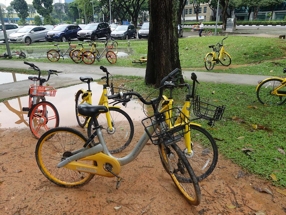 (Bicycles from bike-sharing companies in Singapore seen at Bugis on 26 June, 2018. Yahoo News Singapore file photo)