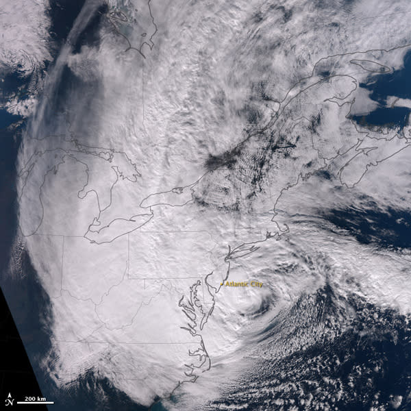 The Suomi NPP satellite also snapped an image of Hurricane Sandy Monday night, just before the hurricane came ashore. Sandy made landfall at 8 p.m. EDT on Oct. 29, about 5 miles (8 kilometers) southwest of Atlantic City, N.J.