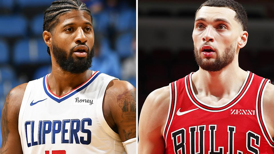 Paul George and Zach LaVine both boast strong trade value after string starts to their respective seasons. Pictures: Getty Images