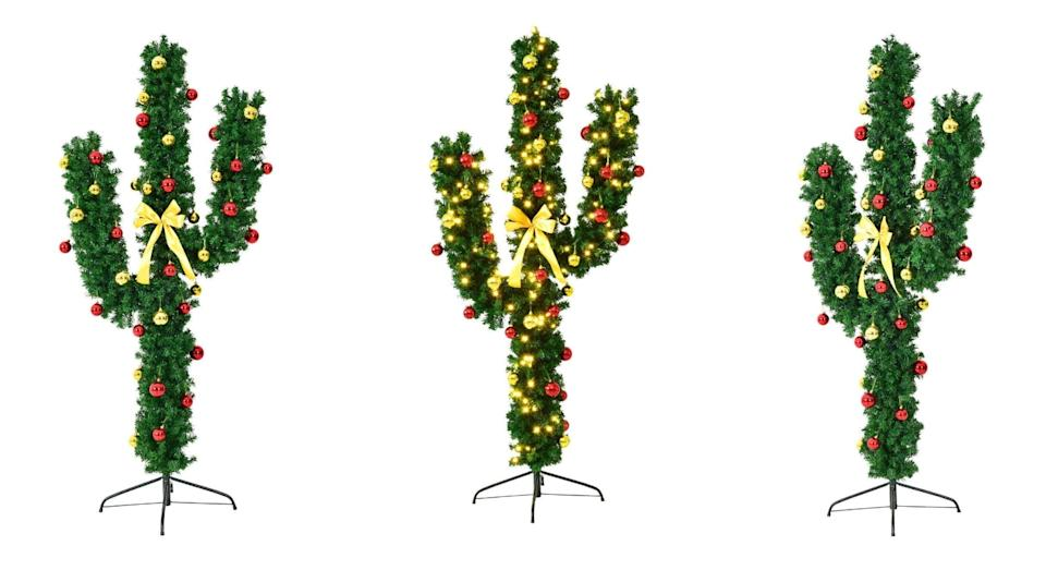 The cactus Christmas tree comes with red and gold baubles (Amazon)