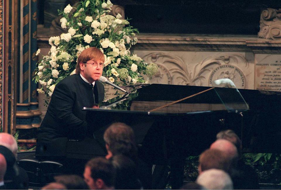 Sir Elton John singing 'Candle In The Wind' at Princess Diana's funeral in 1997. [Photo: PA]