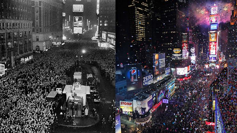 New Year's eve on 1940 (left) and 2010 (right). (Photos: AP)