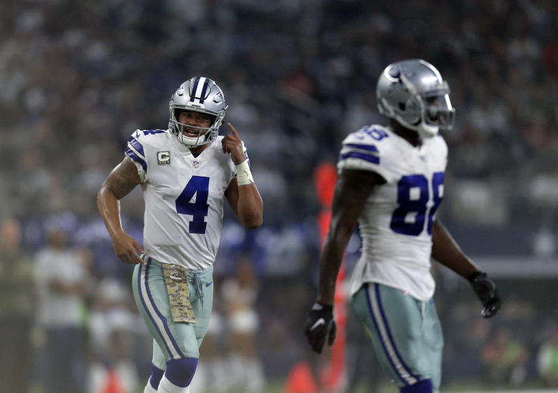It's unclear if Dez Bryant (R) is going to be asked to take a pay cut from the Cowboys. Also, a big contract extension could be on the horizon for QB Dak Prescott. (AP)