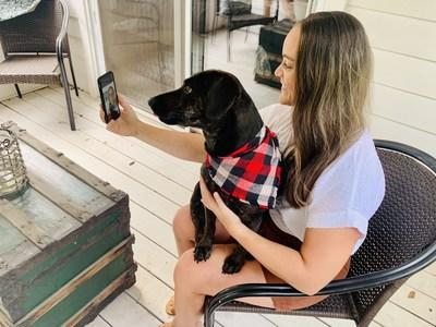 Melissa Huval and her dog, Hayden, receive helpful advice through My Virtual Vet on ways to address anxiety issues Hayden has presented recently.