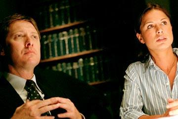 James Spader as Alan Shore and Rhona Mitra as Tara Wilson ABC's The Practice Practice