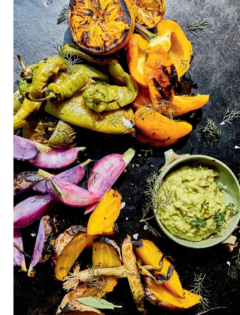 """Everyone loves an easy <a href=""""https://www.epicurious.com/recipes-menus/best-dip-recipes-gallery?mbid=synd_yahoo_rss"""" rel=""""nofollow noopener"""" target=""""_blank"""" data-ylk=""""slk:dip"""" class=""""link rapid-noclick-resp"""">dip</a>, but everyone <em>really</em> loves a dip that starts on the grill for a bit of smoky flavor. <a href=""""https://www.epicurious.com/recipes/food/views/grilled-green-goddess-dip-eric-werner?mbid=synd_yahoo_rss"""" rel=""""nofollow noopener"""" target=""""_blank"""" data-ylk=""""slk:See recipe."""" class=""""link rapid-noclick-resp"""">See recipe.</a>"""