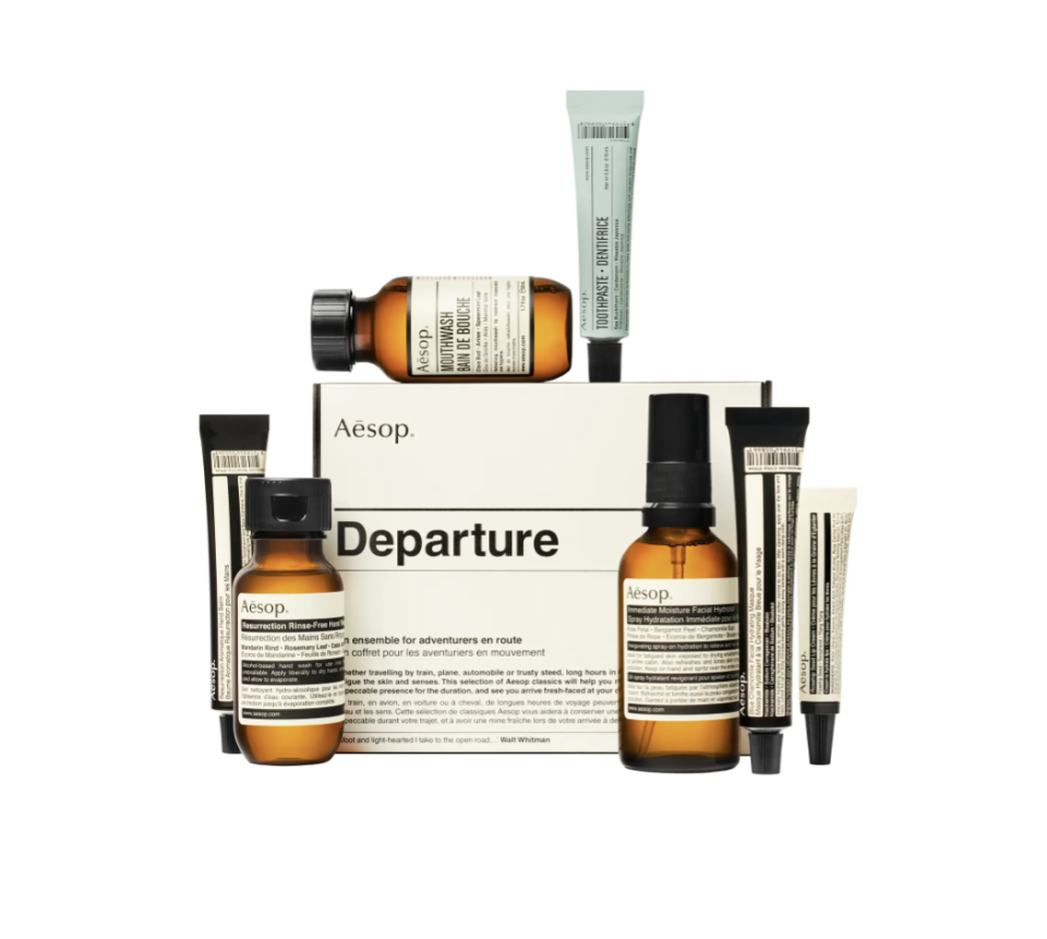 """<p><strong>AESOP</strong></p><p>nordstrom.com</p><p><strong>$53.00</strong></p><p><a href=""""https://go.redirectingat.com?id=74968X1596630&url=https%3A%2F%2Fwww.nordstrom.com%2Fs%2Faesop-departure-travel-kit%2F5356766&sref=https%3A%2F%2Fwww.elledecor.com%2Flife-culture%2Ftravel%2Fg36806316%2Fsummer-travel-necessities%2F"""" rel=""""nofollow noopener"""" target=""""_blank"""" data-ylk=""""slk:Shop Now"""" class=""""link rapid-noclick-resp"""">Shop Now</a></p><p>With all those TSA regulations for liquids, this travel kit by Aesop is here to help. The kit includes toothpaste, mouthwash, hand wash, hand balm, moisturizing facial spray, face mask, and a lip cream. </p>"""