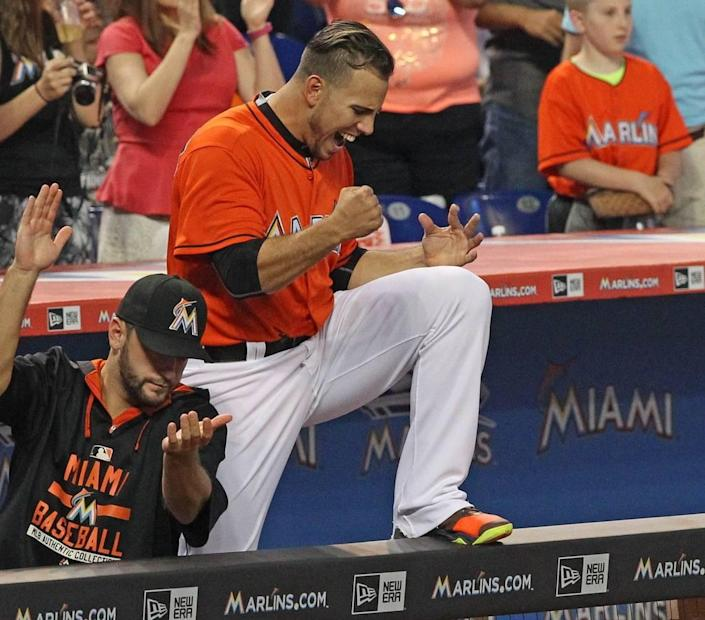 Jose Fernandez, pitcher of the Miami Marlins, reacts after the final out in the ninth inning of the game against the San Francisco Giants, on Thursday, July 2, 2015, at Marlins Park in Miami. It was his first game back after surgery.
