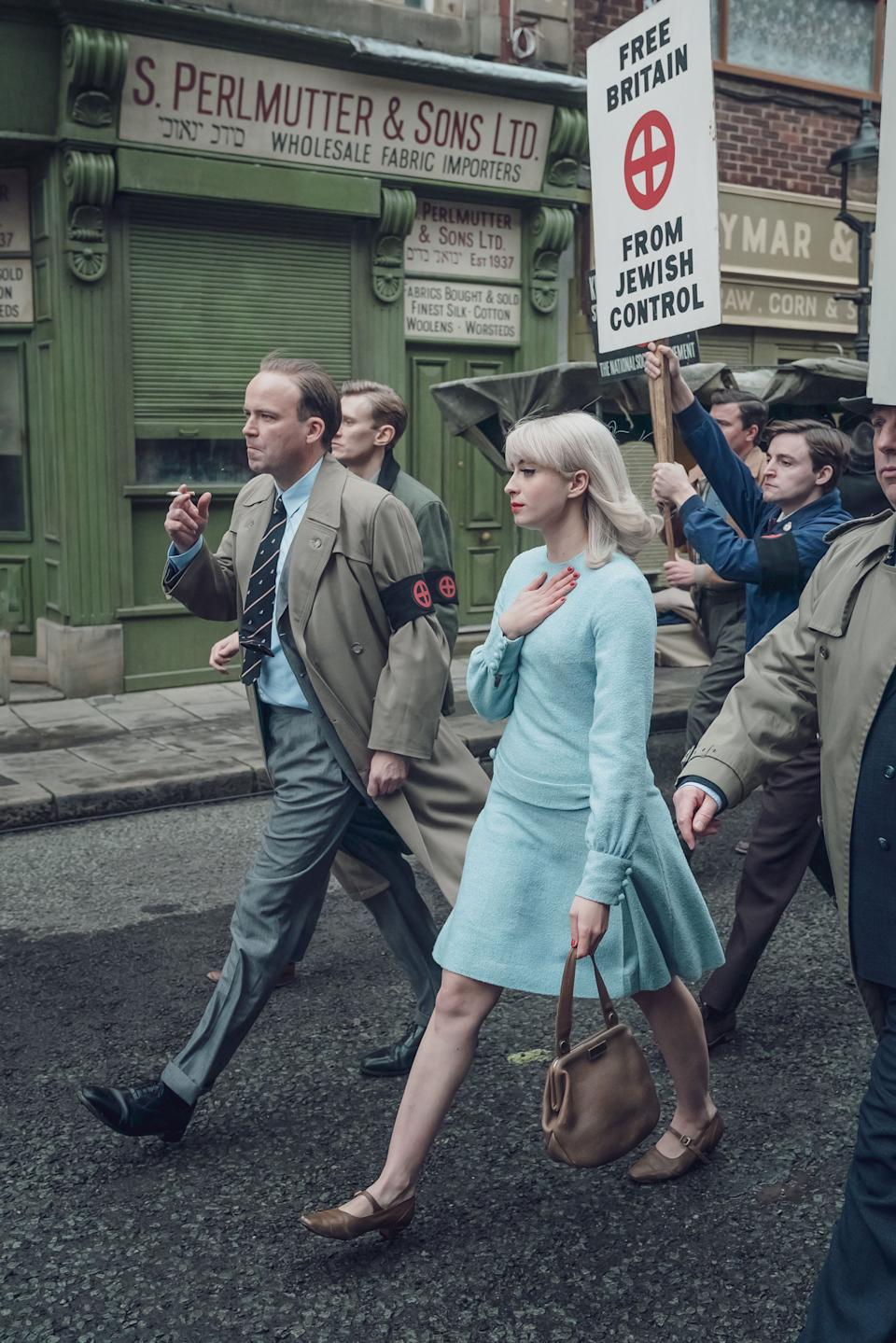 Programme Name: Ridley Road - TX: n/a - Episode: n/a (No. n/a) - Picture Shows:  Colin Jordan (RORY KINNEAR), Vivien Epstein (AGNES O'CASEY) - (C) Red Productions - Photographer: Ben Blackall