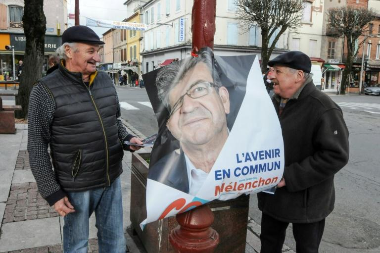 Communist-backed candidate Jean-Luc Melenchon has about 10 percent support in the French presidential election
