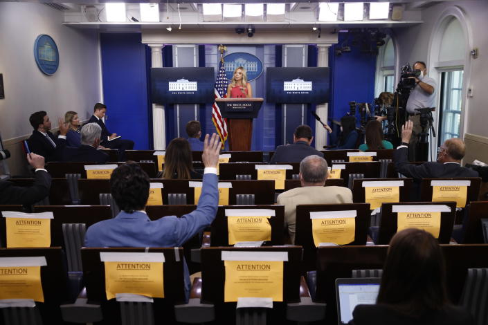 White House press secretary Kayleigh McEnany speaks during a news conference, Monday, June 8, 2020, at the White House in Washington. (AP Photo/Patrick Semansky)