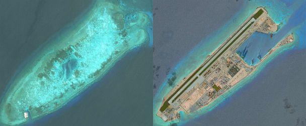 PHOTO: DigitalGlobe overview imagery comparing Fiery Cross Reef from May 31, 2014 to June 3, 2016. Fiery Cross is located in the western part of the Spratly Islands group. (DigitalGlobe/Getty Images)