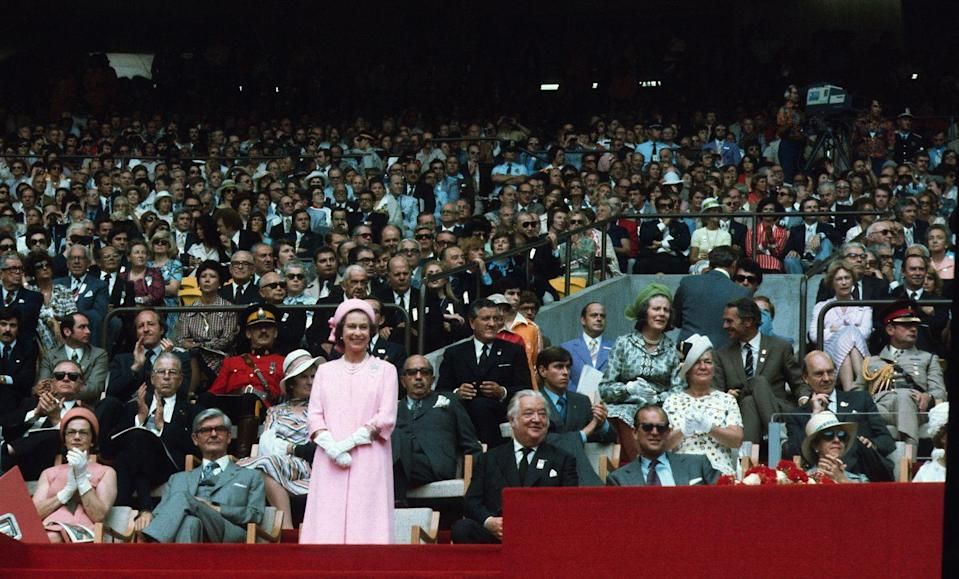 <p>Queen Elizabeth and the Duke of Edinburgh attend the opening ceremony of the Summer Olympic Games in Montreal in 1976.</p>