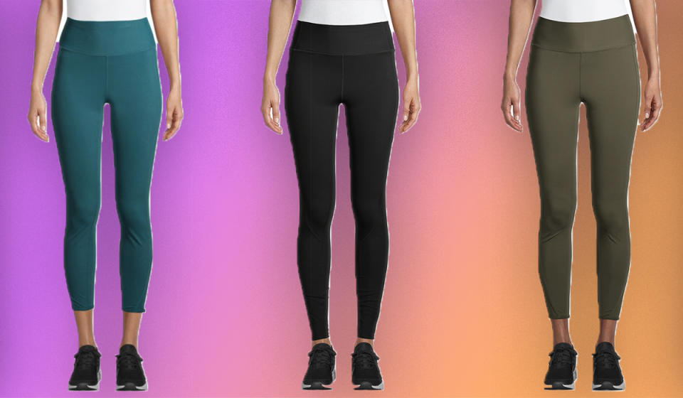 Leggings for days: three of the seven colors available. All are down from $25 to a mere $7. (Photo: Walmart)