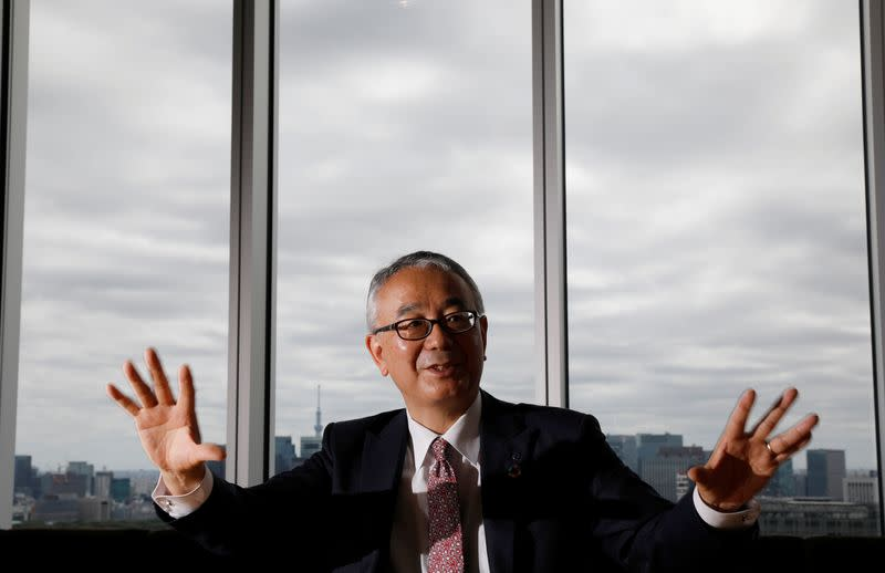 FILE PHOTO: Isao Teshirogi, President and CEO at Shionogi & Co Ltd, speaks during an interview with Reuters in Tokyo