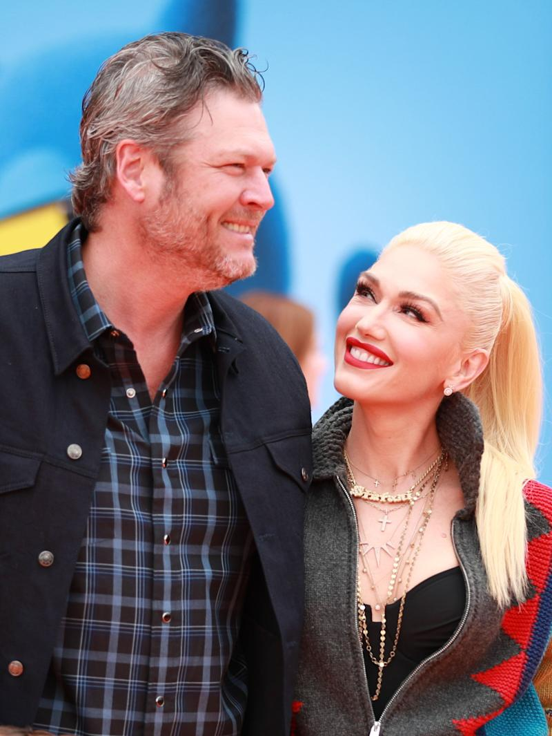 "LOS ANGELES, CALIFORNIA - APRIL 27: Blake Shelton (L) and Gwen Stefani attend STX Films World Premiere of ""UglyDolls"" at Regal Cinemas L.A. Live on April 27, 2019 in Los Angeles, California. (Photo by Rich Fury/Getty Images)"