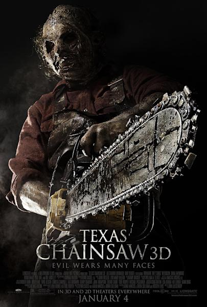 "This undated publicity film image from Lionsgate shows theatrical key art for a poster from the movie, ""Texas Chainsaw 3-D,"" releasing in theaters on Friday, January 4, 2013. (AP Photo/Lionsgate)"