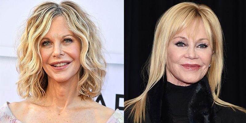 <p>Actresses Meg Ryan and Melanie Griffith have only become more similar looking with age. Their oval-shaped faces are even more identical thanks to their button-shaped noses and blue eyes. </p>