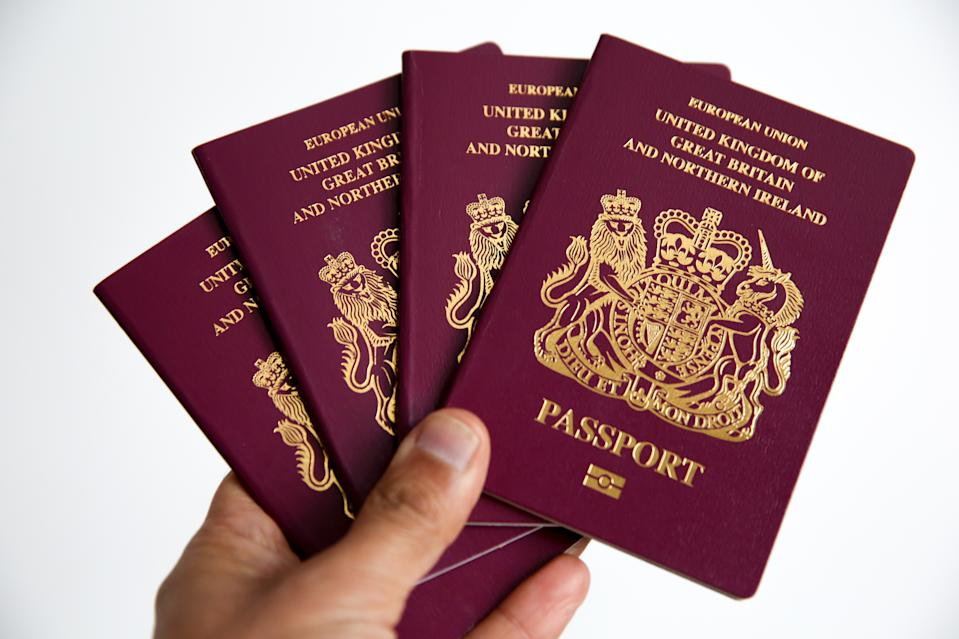 British Passports are seen as according to consumer group Which?, over three millions British travellers could be banned from entering several European countries unless they renew their passports by Friday,8 March 2019 in the event of a no-deal Brexit. (Photo by Dinendra Haria / SOPA Images/Sipa USA)