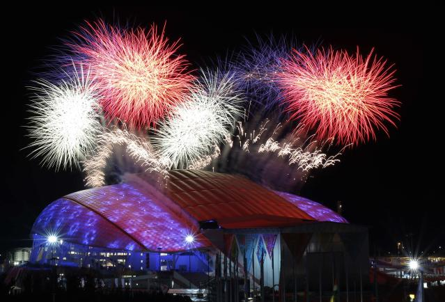 Fireworks are seen over the Olympic Park during the opening ceremony of the 2014 Sochi Winter Olympics, February 7, 2014. REUTERS/Marko Djurica (RUSSIAOLYMPICS SPORT - Tags: SPORT OLYMPICS TPX IMAGES OF THE DAY)
