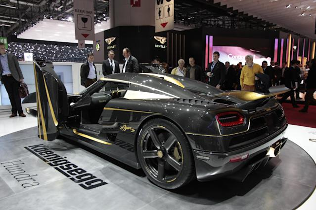 <strong>Koenigsegg Agera S Hundra: </strong>It took 4,000 man-hours to create the all-carbonfibre and gold leaf Hundra, right down to the carbon wheels which look as mad as they sound. Just make sure not to kerb them. It also has 1,016bhp thanks to engine tweaks. (PA)