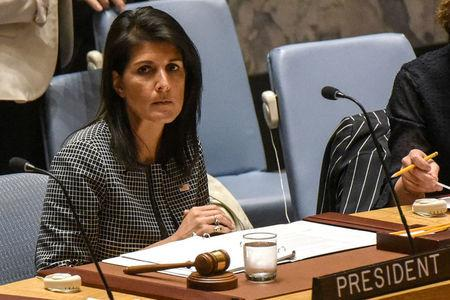 U.S. Ambassador to the U.N. Nikki Haley prepares to speak at a Security Council meeting on the situation in Syria at the United Nations Headquarters in New York