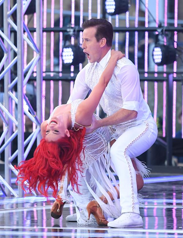 """Dianne Buswell and Anton du Beke attend the """"Strictly Come Dancing"""" launch show red carpet arrivals at Television Centre on August 26, 2019 in London, England. (Photo by Karwai Tang/WireImage)"""