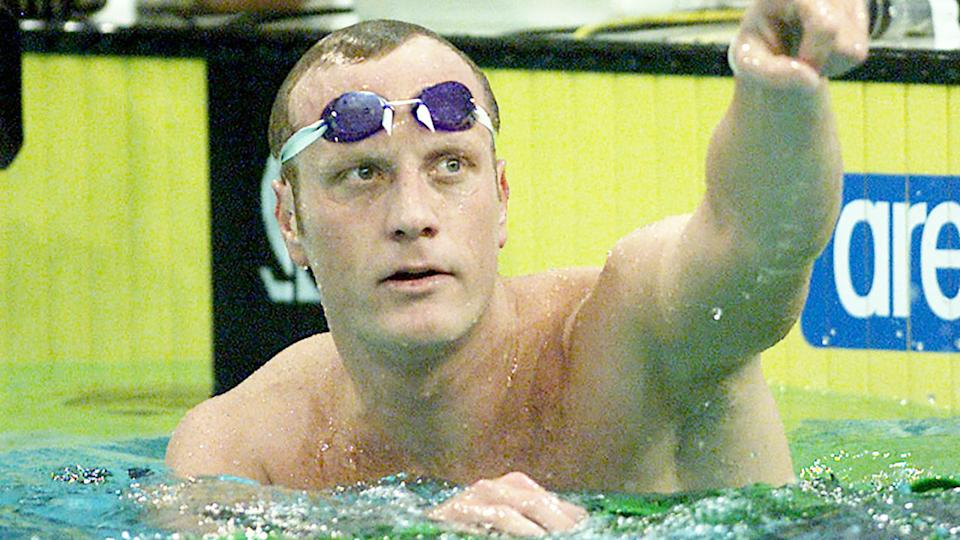 Daniel Kowalski, pictured here after winning the 1500m final at the 2001 World Cup of Swimming in Melbourne.