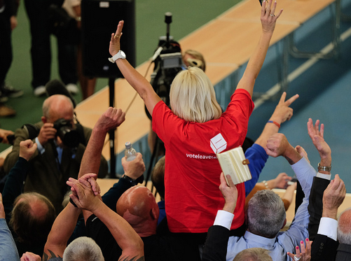 Leave campaigners celebrate as they win Sutherland during the North East EU count. Photo: Getty.