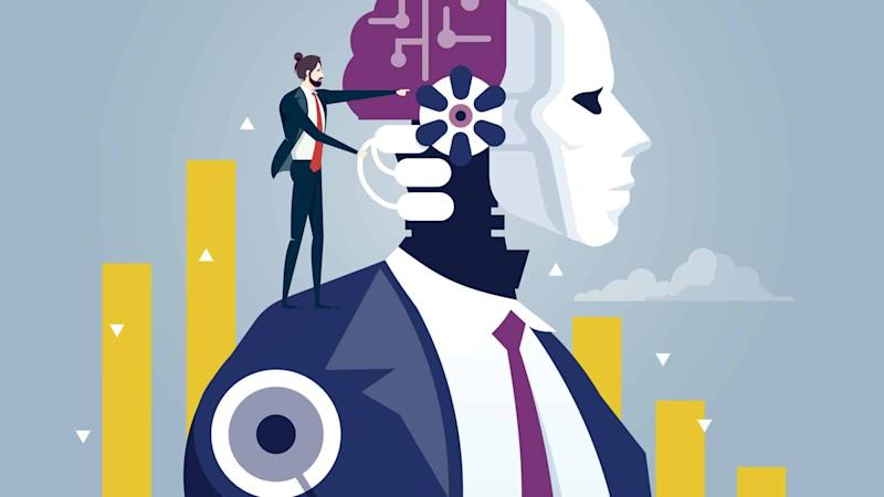 graphic image of man in business suit standing on the shoulder of AI robot