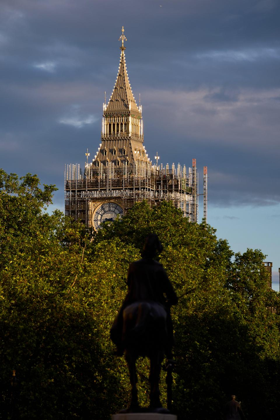 Scaffolding surrounds the under-renovation Elizabeth Tower, commonly known as Big Ben, part of the Palace of Westminster (John Walton/PA) (PA Wire)