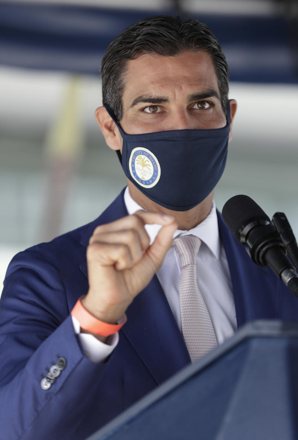 City of Miami Mayor Francis Suarez speaks during a news conference, Tuesday, July 21, 2020, in Miami. Suarez announced that Miami would be closing summer camps and the formation of a team of officers to monitor face mask violations. (AP Photo/Wilfredo Lee)