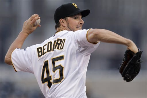 Pittsburgh Pirates pitcher Erik Bedard throws in the second inning of a baseball game against the Washington Nationals in Pittsburgh on Wednesday, May 9, 2012. Bedard left the game after this pitch with back spasms. (AP Photo/Gene J. Puskar)