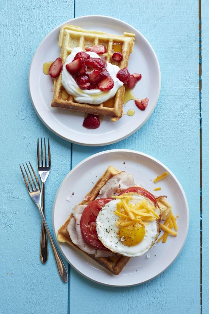 "<p>Trisha Yearwood's famous waffle recipe makes for an easy but impressive breakfast — top it with fruit, syrup, and yogurt if your mom has a sweet tooth, or pile on ham, cheddar, and eggs for a savory twist. </p><p><strong><em><a href=""https://www.womansday.com/food-recipes/food-drinks/recipes/a12870/mamas-homemade-waffles-recipe-wdy0914/"" rel=""nofollow noopener"" target=""_blank"" data-ylk=""slk:Get the Mama's Homemade Waffles recipe."" class=""link rapid-noclick-resp"">Get the Mama's Homemade Waffles recipe.</a></em></strong></p>"