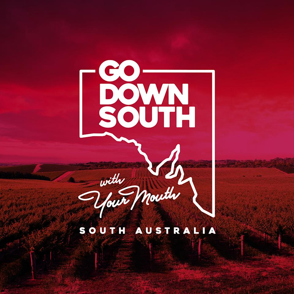 A tourism poster advertising South Australia with the slogan reading: 'Go Down South with Your Mouth'.