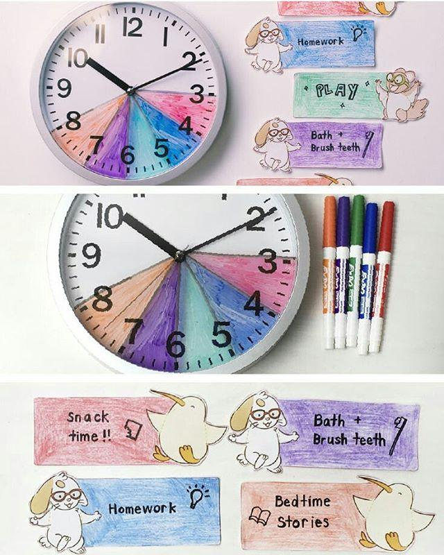 """<p>Visual learners will love this  <a href=""""https://www.amazon.com/Bernhard-Products-Black-Silent-Ticking/dp/B01HONVHZ2"""" target=""""_blank"""">analog clock</a>. With it, they can color-code the time allotted for certain activities. (In this example, I would also color-code where the """"big hand' would be in for these tasks,) <a href=""""https://www.amazon.com/All-new-Echo-Dot-3rd-Gen/dp/B0792KTHKJ"""" target=""""_blank"""">Timers</a> help, too! </p><p><strong>RELATED: <a href=""""https://www.goodhousekeeping.com/life/parenting/g4491/how-to-get-the-kids-to-school-on-time/"""" target=""""_blank"""">17 Tricks to Help You Get the Kids to School on Time</a></strong><br></p><p><a href=""""https://www.instagram.com/p/BYrYfvflDRF/"""">See the original post on Instagram</a></p>"""