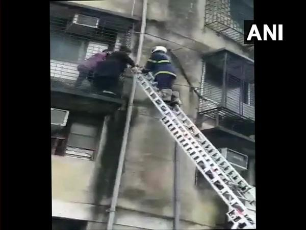 Mumbai Fire Brigade personnel during fire fighting operation (Photo/ANI)