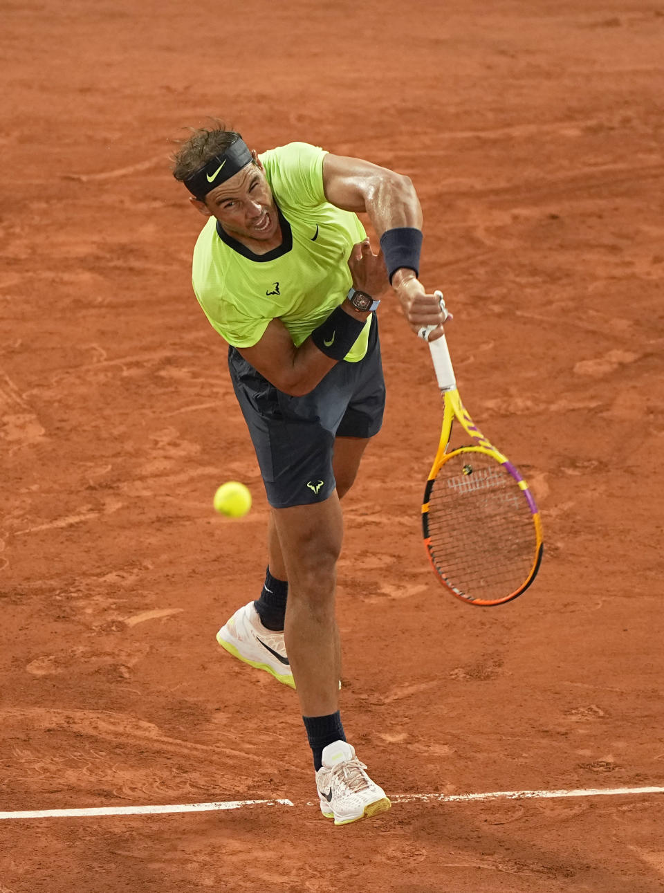 Spain's Rafael Nadal serves to Richard Gasquet of France during their second round match on day 5, of the French Open tennis tournament at Roland Garros in Paris, France, Thursday, June 3, 2021. (AP Photo/Michel Euler)