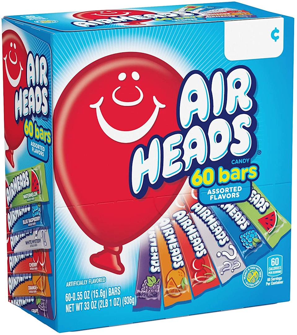 AirHeads Bars, Chewy Fruit Candy, Variety Pack, Party, Halloween, 60 Count