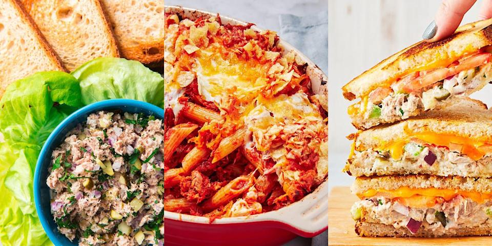 """<p>Name a food more versatile than a tin of <a href=""""https://www.delish.com/uk/cooking/a33481493/tuna-recipes/"""" rel=""""nofollow noopener"""" target=""""_blank"""" data-ylk=""""slk:tuna"""" class=""""link rapid-noclick-resp"""">tuna</a>? Go on, we're waiting. A-huh, that's what we thought! Tinned tuna is everything, and it can be used in so many different ways. We're talking <a href=""""https://www.delish.com/uk/cooking/recipes/a30267815/tuna-pasta-bake/"""" rel=""""nofollow noopener"""" target=""""_blank"""" data-ylk=""""slk:Tuna Pasta Bake"""" class=""""link rapid-noclick-resp"""">Tuna Pasta Bake</a>,<a href=""""https://www.delish.com/uk/cooking/recipes/a29185033/tuna-melt-recipe/"""" rel=""""nofollow noopener"""" target=""""_blank"""" data-ylk=""""slk:Tuna Melt"""" class=""""link rapid-noclick-resp""""> Tuna Melt</a>, <a href=""""https://www.delish.com/uk/cooking/recipes/a35921334/spicy-tuna-stuffed-avocados-recipe/"""" rel=""""nofollow noopener"""" target=""""_blank"""" data-ylk=""""slk:Spicy Tuna Stuffed Avocados"""" class=""""link rapid-noclick-resp"""">Spicy Tuna Stuffed Avocados</a> (they're as good as they sound). The options are endless. Plus, it's SO. DAMN. CHEAP! </p><p>So, if you're looking for ways to use up those countless tins weighing down your kitchen shelves, then head on over to the next slide where you'll find lots of easy-to-make tuna recipes. You're welcome... </p>"""