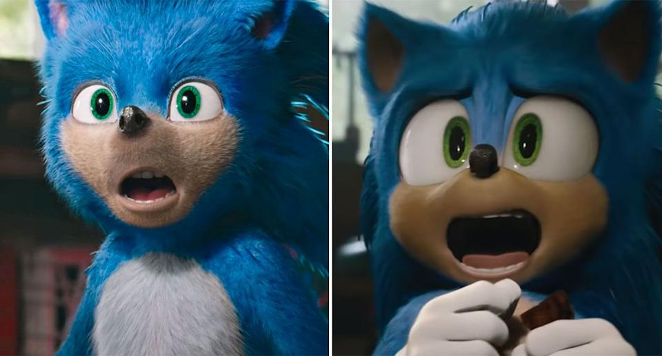 The old Sonic design (left) versus the new one (right). (Photos: Paramount)