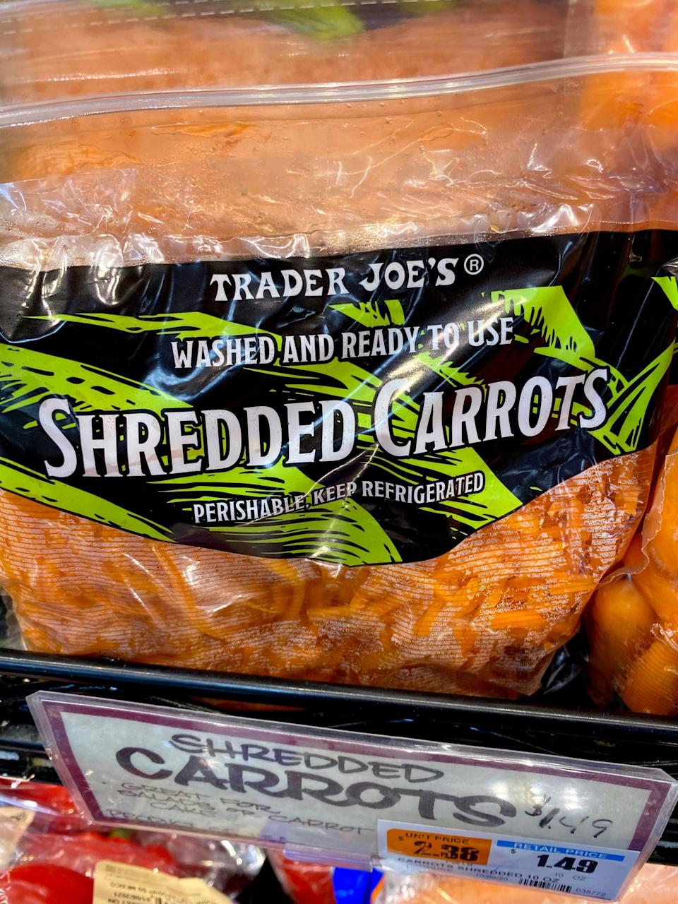 """<p>Sure, I could shred my own carrots, but this makes it so easy! I usually add them to salads or to quinoa while cooking, but one of my favorite ways to use these shredded carrots is to add a cup to my rolled oats while they're cooking on the stove for <a href=""""https://www.popsugar.com/fitness/Carrot-Cake-Oatmeal-40544790"""" class=""""link rapid-noclick-resp"""" rel=""""nofollow noopener"""" target=""""_blank"""" data-ylk=""""slk:carrot cake oatmeal"""">carrot cake oatmeal</a>!</p>"""