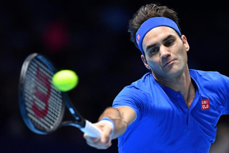 Roger Federer in action during his defeat to Alexander Zverev in the last four of the ATP Finals in London