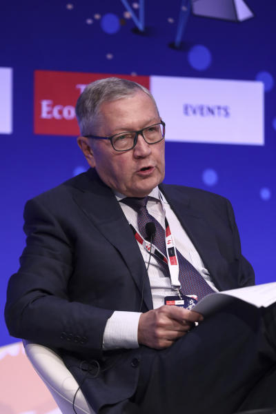 Klaus Regling, Managing Director of EMS (European Stability Mechanism), speaks at a financial conference in Lagonisi, south of Athens, Tuesday, July 16, 2019. Regling is meeting with officials of Greece's new conservative government and has insisted that the country needs to stick to tough annual budget targets. (AP Photo/Yorgos Karahalis)