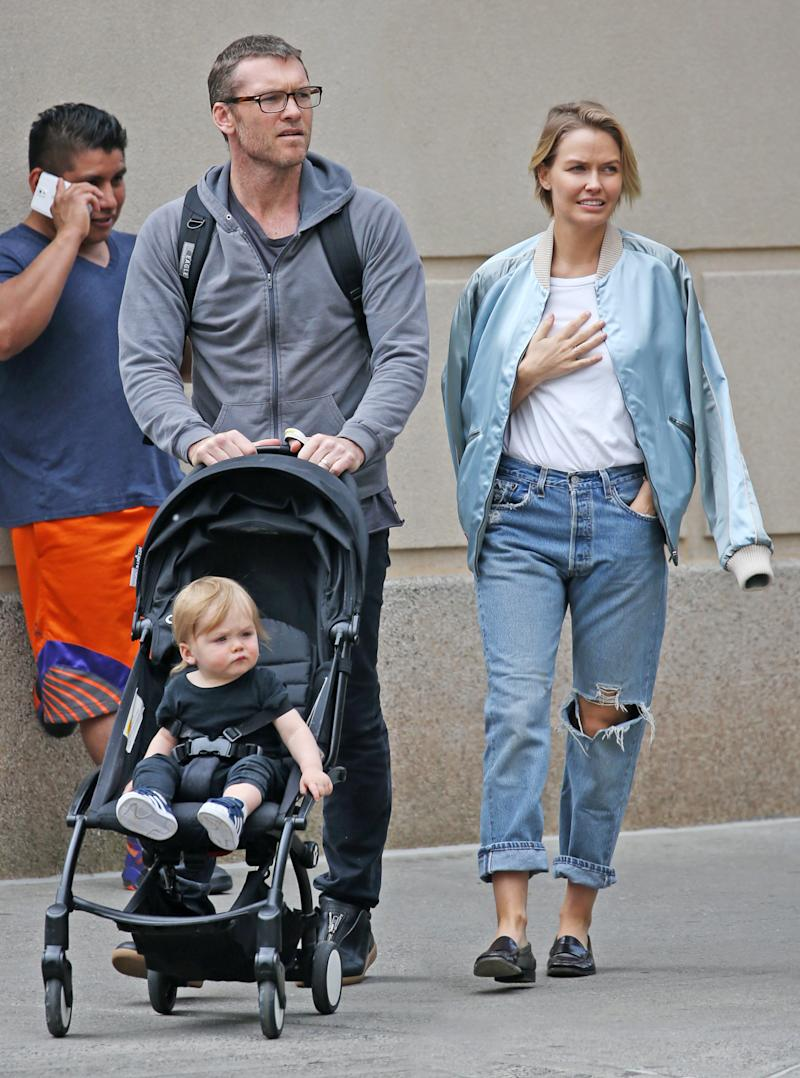 Sam and Lara Worthington shares sons Rocket (pictured in 2016) and Racer. Photo: Getty Images