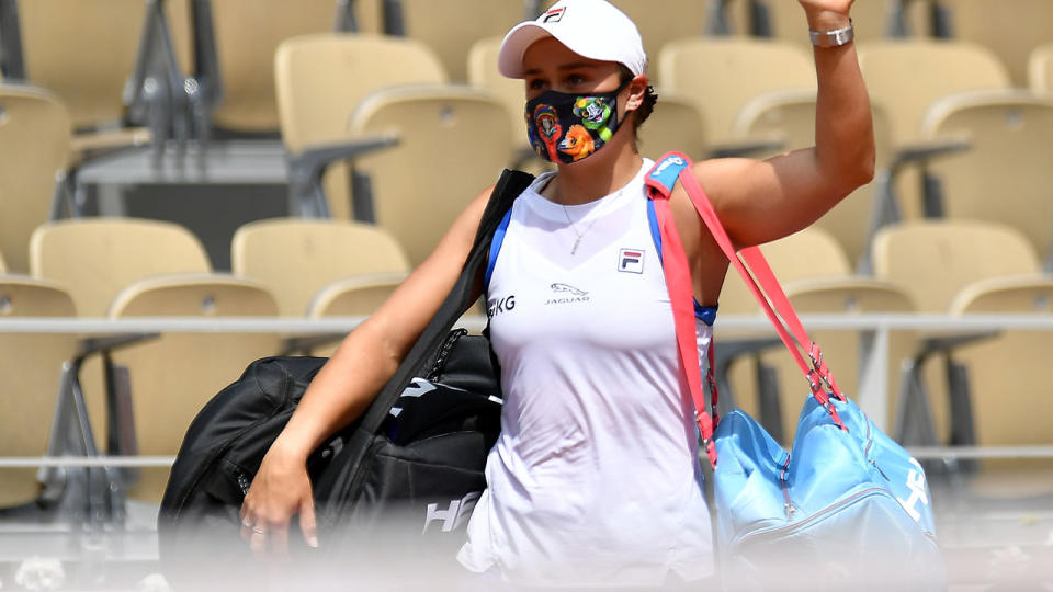 Ash Barty, pictured here after retiring hurt against Magda Linette at the French Open.