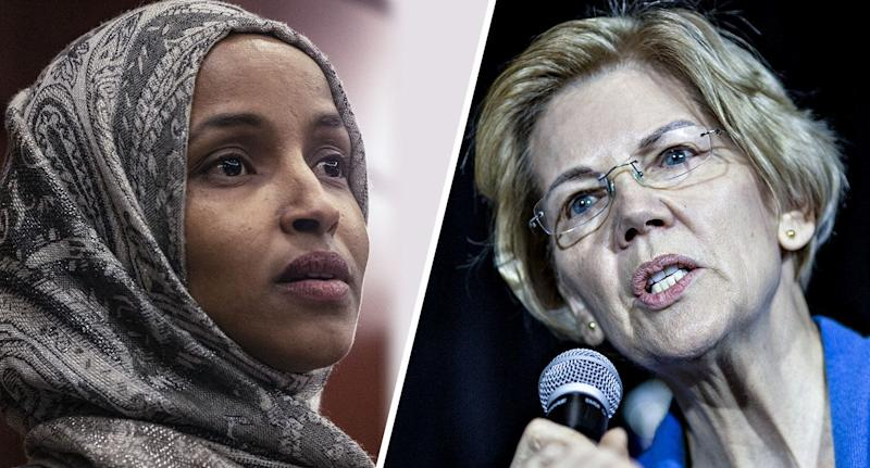 Representative Ilhan Omar, a Democrat from Minnesota and Senator Elizabeth Warren, a Democrat from Massachusetts. (Photos: Alex Wroblewski/Bloomberg via Getty Images - Daniel Acker/Bloomberg via Getty Images)