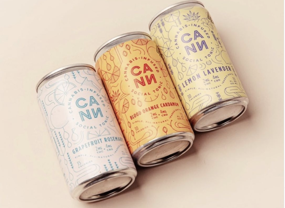 Three cans of the cannabis-infused beverage company, CANN's, different drinks